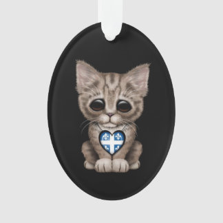 Cute Kitten Cat with Quebec Flag Heart, black Ornament