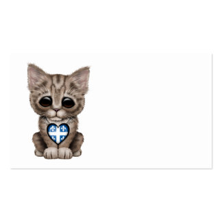 Cute Kitten Cat with Quebec Flag Heart Business Cards