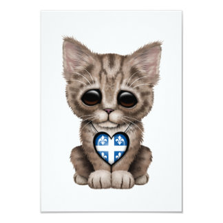 Cute Kitten Cat with Quebec Flag Heart 3.5x5 Paper Invitation Card