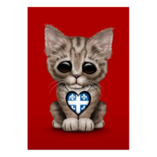 Cute Kitten Cat with Quebec Flag Heart red Business Card Template