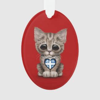 Cute Kitten Cat with Quebec Flag Heart, red Ornament