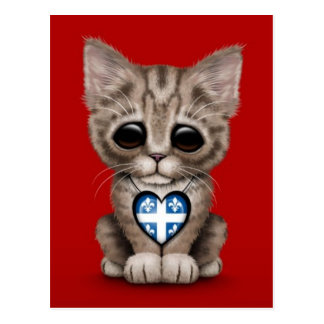 Cute Kitten Cat with Quebec Flag Heart, red Postcard
