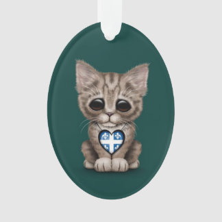 Cute Kitten Cat with Quebec Flag Heart, teal Ornament