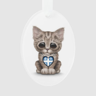 Cute Kitten Cat with Quebec Flag Heart, white