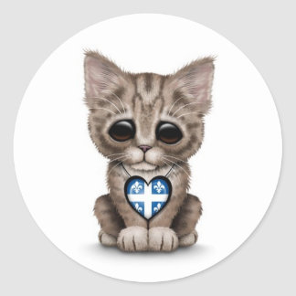 Cute Kitten Cat with Quebec Flag Heart, white Classic Round Sticker
