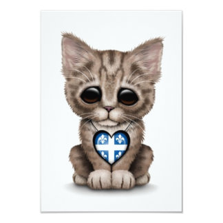 Cute Kitten Cat with Quebec Flag Heart, white 3.5x5 Paper Invitation Card
