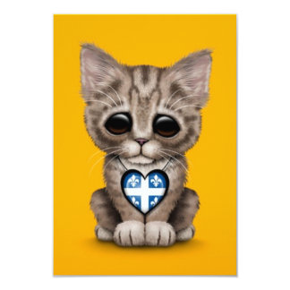 Cute Kitten Cat with Quebec Flag Heart, yellow 3.5x5 Paper Invitation Card