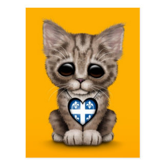 Cute Kitten Cat with Quebec Flag Heart, yellow Postcard