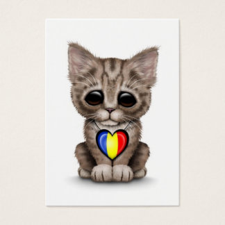 Cute Kitten Cat with Romanian Flag Heart, white Business Card