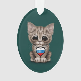 Cute Kitten Cat with Russian Flag Heart, teal Ornament