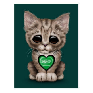 Cute Kitten Cat with Saudi Arabian Flag Heart, tea Postcard