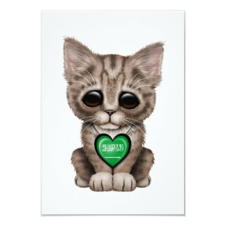 Cute Kitten Cat with Saudi Arabian Heart Card