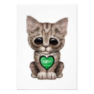Cute Kitten Cat with Saudi Arabian Heart Personalized Announcements