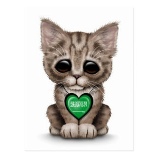 Cute Kitten Cat with Saudi Arabian Heart, white Postcard