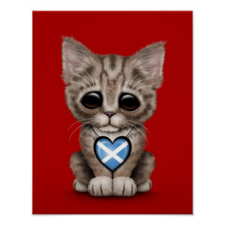 Cute Kitten Cat with Scottish Flag Heart, red Poster