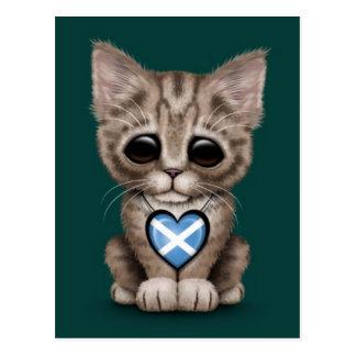 Cute Kitten Cat with Scottish Flag Heart, teal Postcard