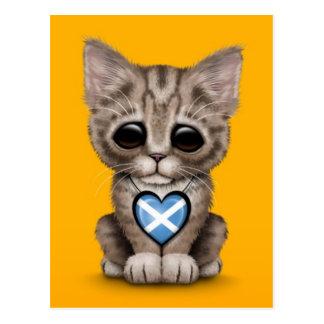 Cute Kitten Cat with Scottish Flag Heart, yellow Postcard