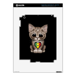 Cute Kitten Cat with Senegal Flag Heart black Skins For iPad 3