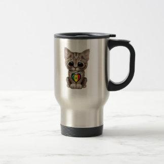 Cute Kitten Cat with Senegal Flag Heart Mugs