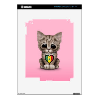 Cute Kitten Cat with Senegal Flag Heart pink iPad 3 Decals