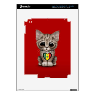 Cute Kitten Cat with Senegal Flag Heart red Decals For iPad 3