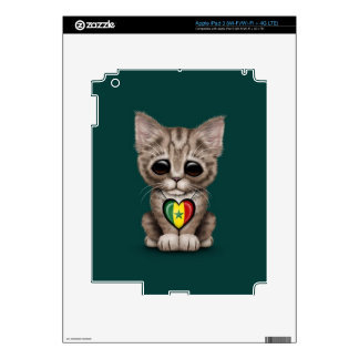 Cute Kitten Cat with Senegal Flag Heart teal Decal For iPad 3