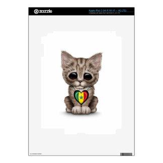 Cute Kitten Cat with Senegal Flag Heart white iPad 3 Decal
