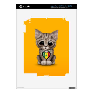 Cute Kitten Cat with Senegal Flag Heart yellow Decals For iPad 3