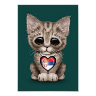 Cute Kitten Cat with Serbian Flag Heart, teal Card