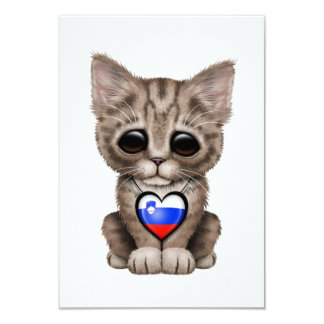 Cute Kitten Cat with Slovenian Flag Heart Card