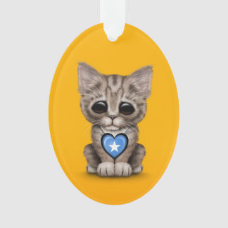 Cute Kitten Cat with Somalia Flag Heart, yellow Ornament