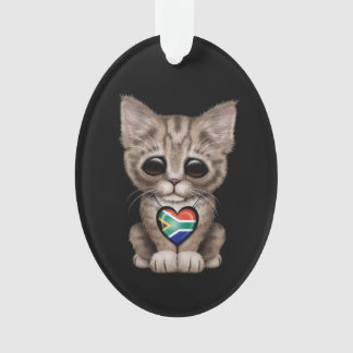 Cute Kitten Cat with South African Heart, black