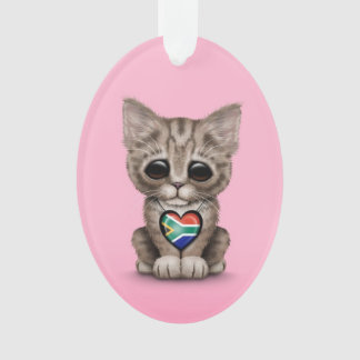 Cute Kitten Cat with South African Heart, pink
