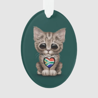 Cute Kitten Cat with South African Heart, teal