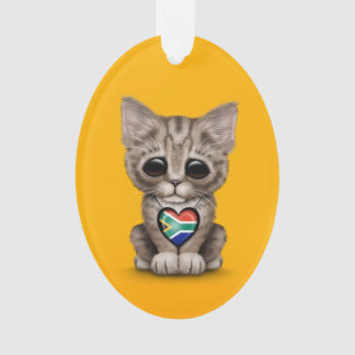 Cute Kitten Cat with South African Heart, yellow Ornament