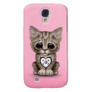 Cute Kitten Cat with South Korean Heart, pink Samsung S4 Case