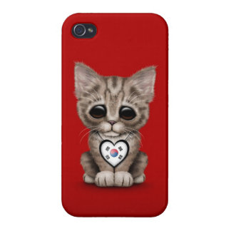 Cute Kitten Cat with South Korean Heart red Cases For iPhone 4