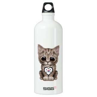 Cute Kitten Cat with South Korean Heart Water Bottle