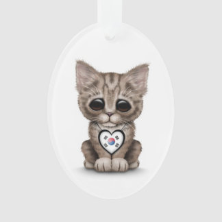Cute Kitten Cat with South Korean Heart, white Ornament