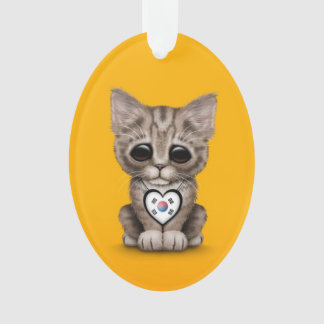 Cute Kitten Cat with South Korean Heart, yellow Ornament