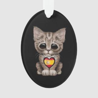Cute Kitten Cat with Spanish Flag Heart, black
