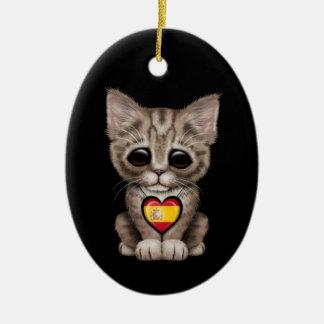 Cute Kitten Cat with Spanish Flag Heart black Ornament