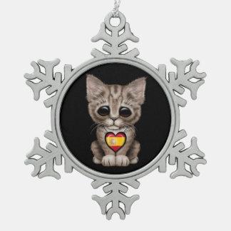 Cute Kitten Cat with Spanish Flag Heart black Ornaments