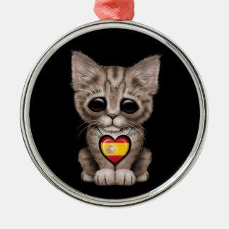 Cute Kitten Cat with Spanish Flag Heart, black Christmas Ornament