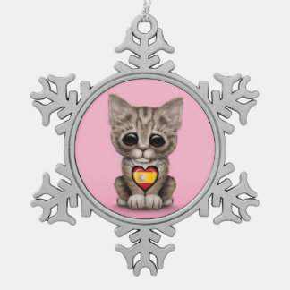 Cute Kitten Cat with Spanish Flag Heart pink Ornaments