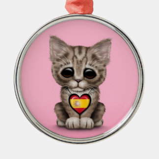 Cute Kitten Cat with Spanish Flag Heart, pink Ornament