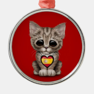 Cute Kitten Cat with Spanish Flag Heart, red Christmas Ornaments