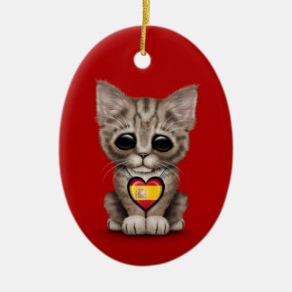 Cute Kitten Cat with Spanish Flag Heart red Christmas Ornaments