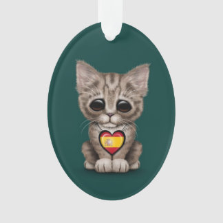 Cute Kitten Cat with Spanish Flag Heart, teal