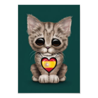 Cute Kitten Cat with Spanish Flag Heart, teal Invitation